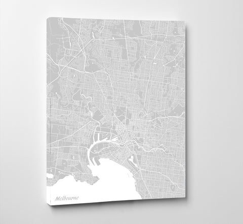 Melbourne City Street Map Print Feature Wall Art Poster
