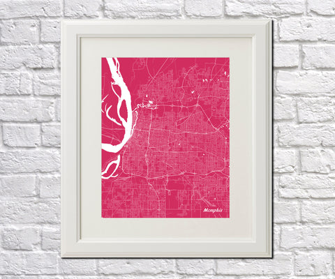 Memphis City Street Map Print Feature Wall Art Poster