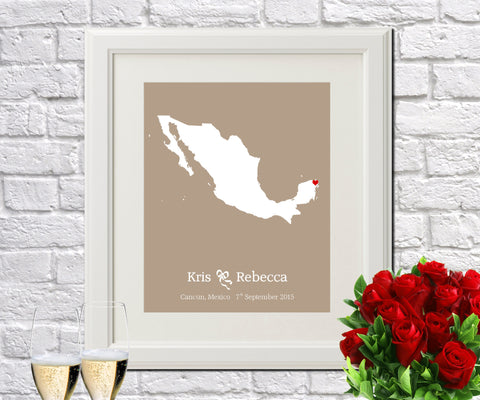 Mexico Custom Wedding Engagement Art Print - OnTrendAndFab