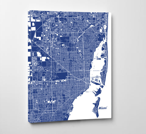 Miami City Street Map Print Custom Wall Map