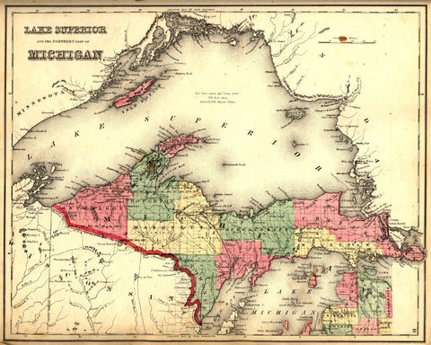 North Michigan State Map Print Vintage Poster Old Map as Art - OnTrendAndFab