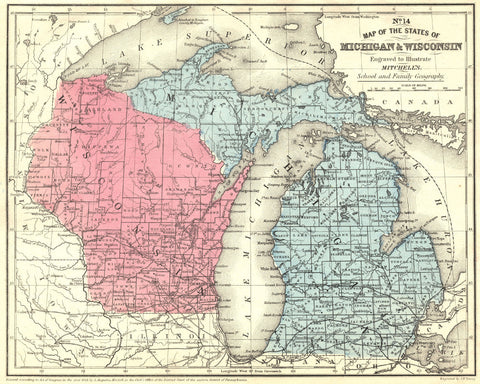 Michigan and Wisconsin State Map Print Vintage Poster Old Map as Art - OnTrendAndFab