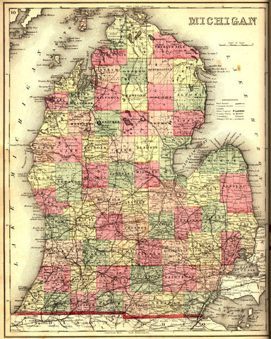 Michigan State Map Print Vintage Poster Old Map as Art - OnTrendAndFab