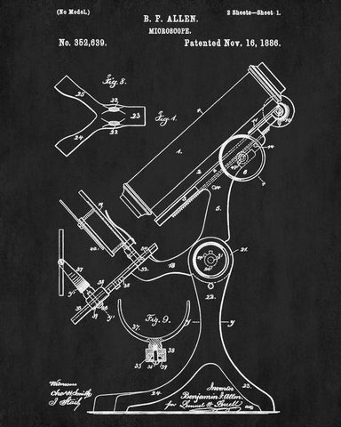 Science Wall Art microscope patent print science wall art poster – ontrendandfab