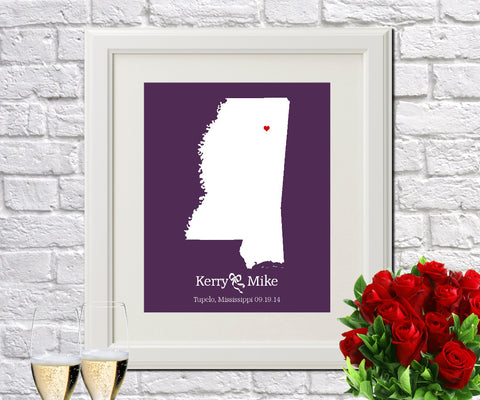 Mississippi Custom Wedding Engagement Art Print - OnTrendAndFab
