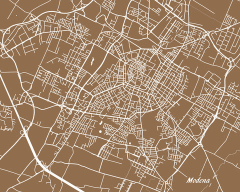Modena Italy City Street Map Print Feature Wall Art Poster