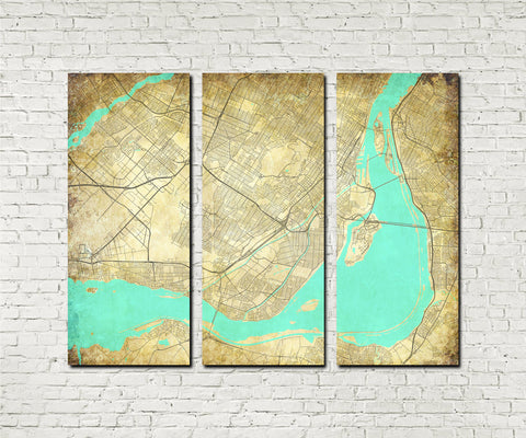 Montreal City Street Map 3 Panel Canvas Wall Art 7011C3
