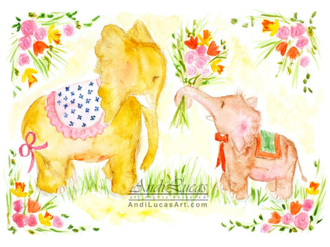 Elephant Flowers Cute Children's Nursery Wall Art Print