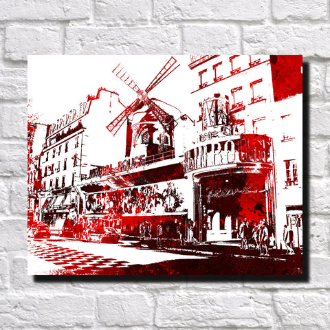 Moulin Rouge Paris Print City Landscape Poster Feature Wall Art