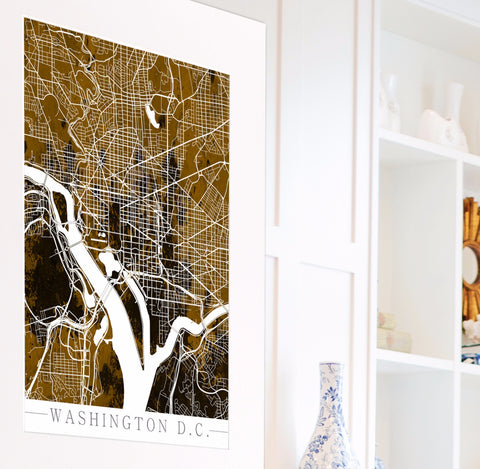 Washington D.C. City Street Map Print Modern Art Poster
