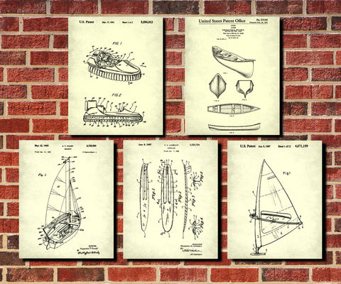 Water craft Patent Prints Set 5 Boat Posters Sports Gift