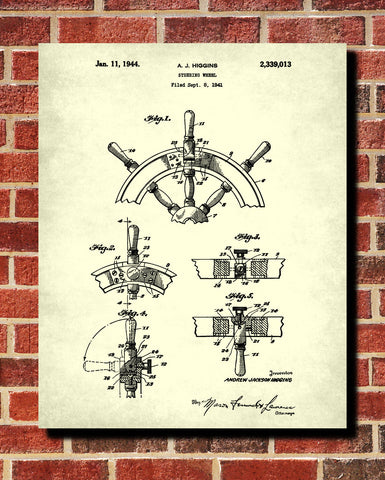 Ships Wheel Patent Print Boating Blueprint Nautical Poster - OnTrendAndFab