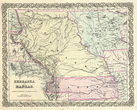 Kansas and Nebraska Map Print Vintage Poster USA State Old Map as Art - OnTrendAndFab
