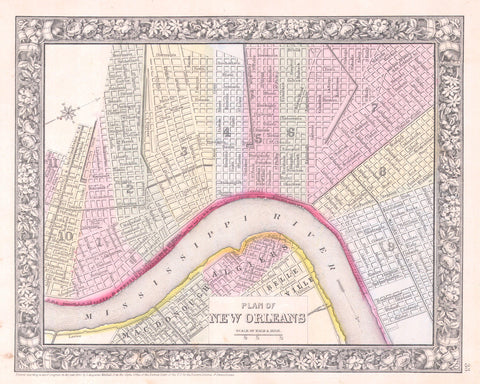 photograph regarding Printable Maps of New Orleans known as Clean Orleans Town Highway Map Print Classic Poster Outdated Map as Artwork