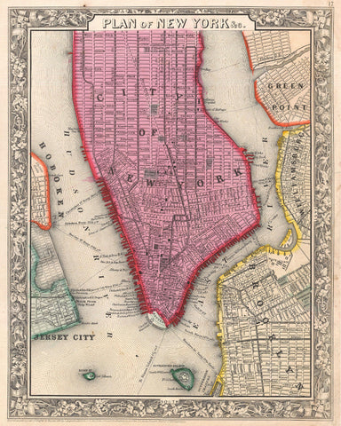Old Map Of New York.New York City Street Map Print Vintage Poster Old Map As Art