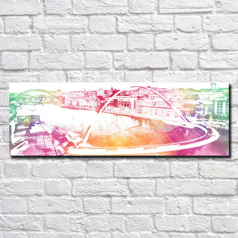 Newcastle Upon Tyne Poster Panorama City Street Scene Art Print 5360