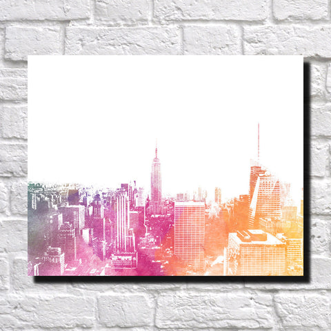New York City Skyline Print Landscape Poster Feature Wall Art