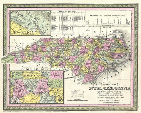 North Carolina State Map Print Vintage Poster Old Map as Art - OnTrendAndFab