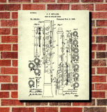 Oboe Patent Print Orchestral Musical Instrument Wall Art Poster