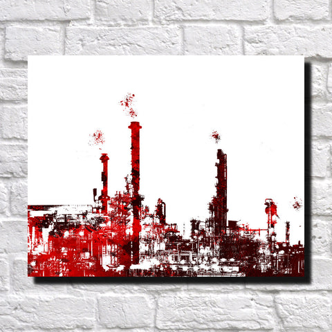 Oil Refinery Print City Industrial Landscape Poster Feature Wall Art