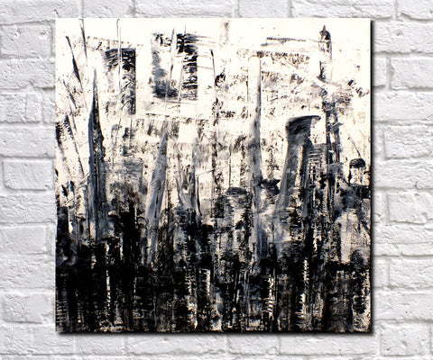 Original Painting James Lucas, Ominous Cityscape Abstract