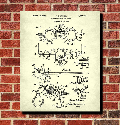Optometrist Blueprint Eye Doctor Patent Print Optician Poster