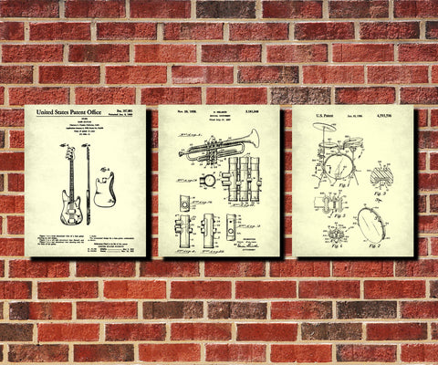 Jazz Music Posters Musical Instruments Patent Prints Set 3E