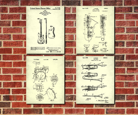 Jazz Music Posters Musical Instruments Patent Prints Set 4E