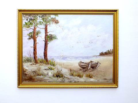Beach Seascape Vintage Oil Painting Signed Framed Boats Seashore