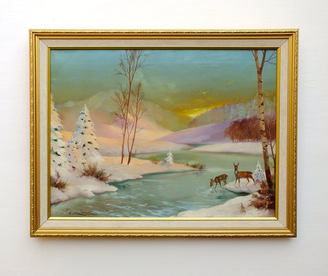 Vintage Oil Painting Winter Landscape Signed Framed Snow Scene Scandinavian Sunset