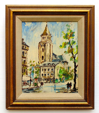 French Oil Painting Paris Wall Art Sign Framed Vintage l'eglise Saint Germain