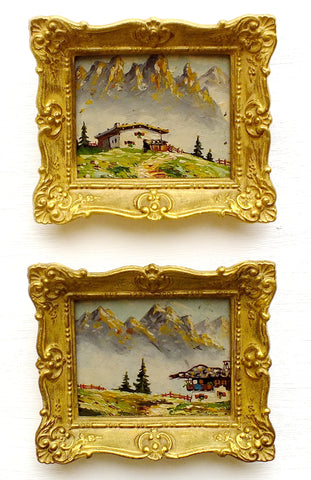 Pair of Miniature Oil Paintings Vintage Framed Swiss Landscape Mountain Scenes