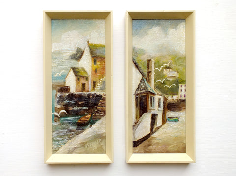 Pair of Vintage Oil Paintings Signed Framed English Seaside Fishing Village Landscape