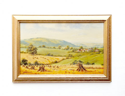 English Country Landscape Oil Painting Farming Scene Harvest Time on the Downs