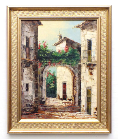 Spanish Village Scene Oil Painting Framed Original Vintage Architecture