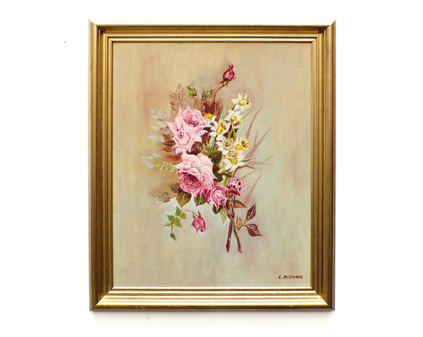 Pink Roses Still Life Vintage Oil Painting Framed Original Flowers