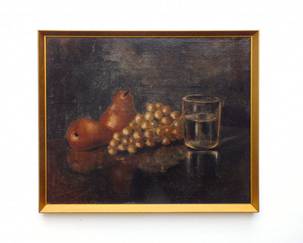 Pears Grapes Still Life Vintage Oil Painting Framed Original Fruits