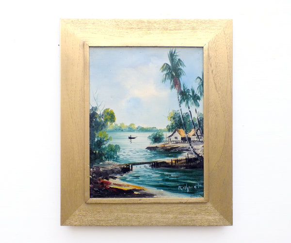 Vintage Framed Oil Paintings Tropical Fishing Village Boats