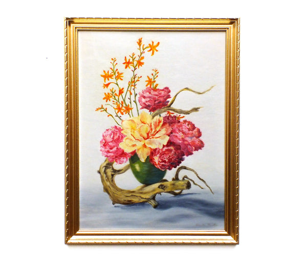 Pink Carnations Still Life Vintage Oil Painting Framed Original Flowers