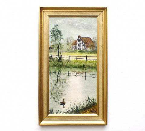 Ditchling Village Pond English Country Landscape Oil Painting Signed Framed