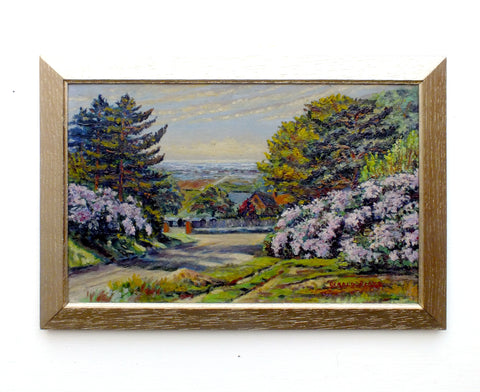English Country Landscape Vintage Oil Painting Signed Framed