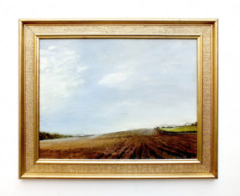 English Country Farming Landscape Oil Painting Framed