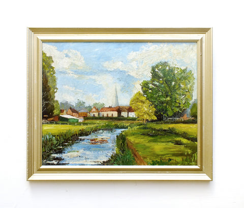 Riverside English Landscape Oil Painting