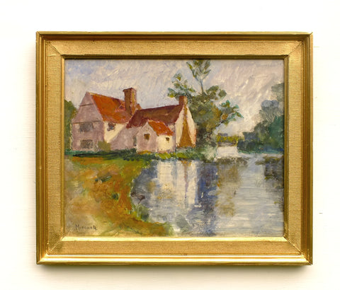 Riverside Mill House English Landscape Oil Painting