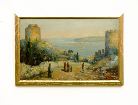 Moroccan Original Oil painting Landscape Vintage Seascape Coastal Art