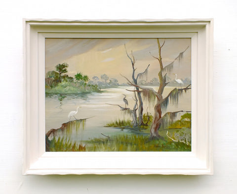 Crane Painting River Sunset Vintage Wildlife Oil Painting Signed Framed