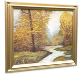 Riverside English Landscape Autumn Leaves Oil Painting Framed