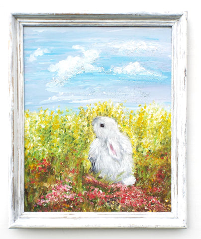 Cute Rabbit Original Framed Painting by Andi Lucas