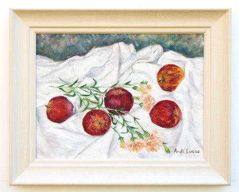 Apples Carnations Still Life Oil Painting Signed Framed Original
