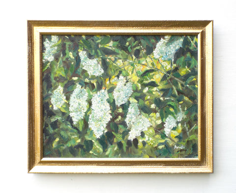 White Lilacs Framed Oil Painting Andi Lucas